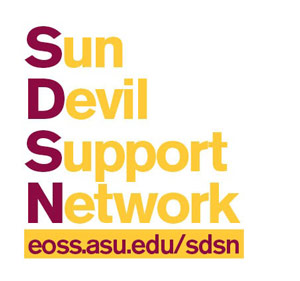Gold and Maroon Text Art Sun Devil Support Network with gold highlighted url and maroon text eoss.asu.edu/sdsn
